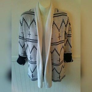 BB Dakota Open Front Cross Knit Cardigan XS